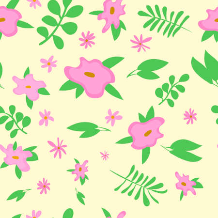 Pink flowers with green leafs pattern for spring banner Ilustrace