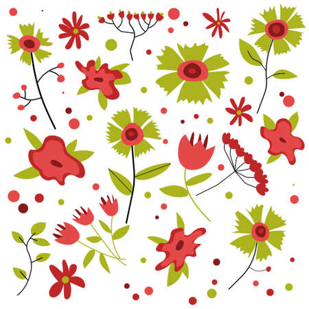 Flower set with red and green color RGB Ilustrace