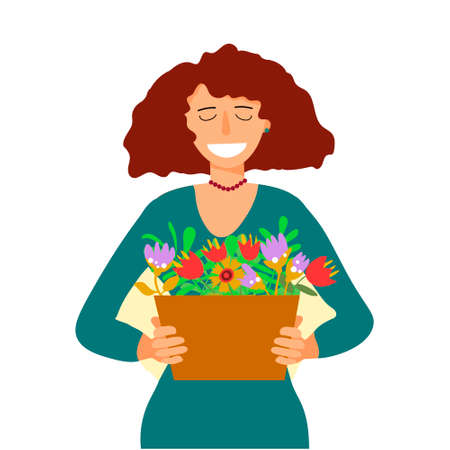 Woman in dress with flower box Ilustrace