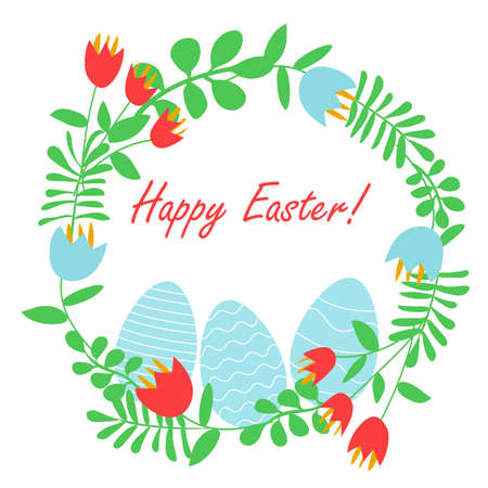 Happy Easter banner with eggs and flowers Ilustração