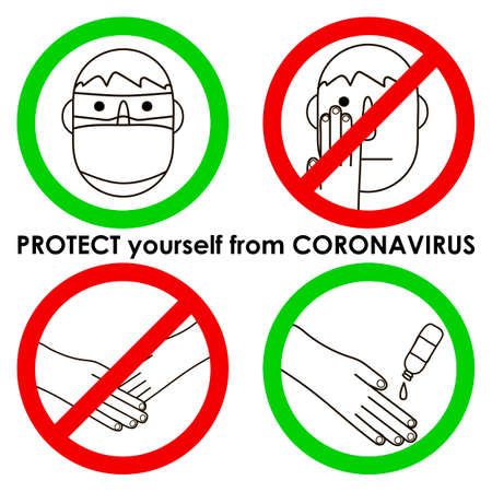 Protect yourself from coronavirus banner: man in a mask, wash hand, don't touch your face