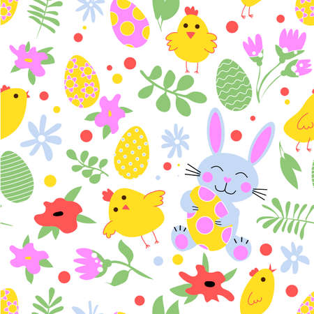 Easter banner with egg, rabbit, chick, plants and flowers Ilustrace
