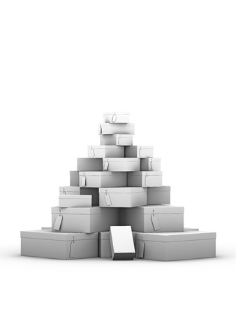 big shoes: stack of shoe boxes on a white background Stock Photo