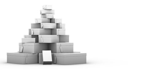 stack of shoe boxes on a white background photo