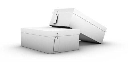 shoe boxes: pila de cajas de zapatos sobre un fondo blanco Foto de archivo