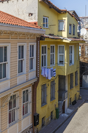 Old houses in a street in Istanbul photo