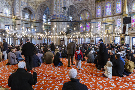 sultan: Prayer in the Mosque of Sultan Ahmed Editorial