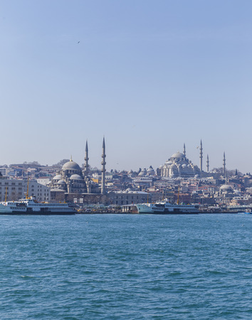 New Mosque and Suleymaniye Mosque in Istanbul photo
