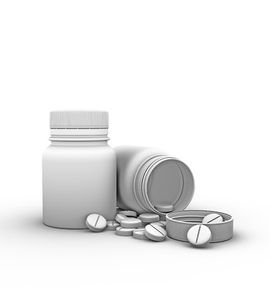 tridimensional: two bottles of pills on a white background Stock Photo