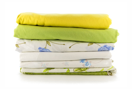 Stack of linen on a white background