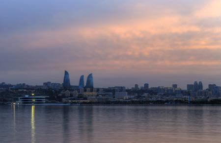 baku: Panorama of seaside boulevard in Baku Azerbaijan Stock Photo