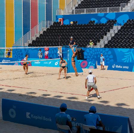 sund: BAKU,AZERBAIJAN-THE FIRST EUROPEAN GAMES-JUNE 20,2015-BEACH VOLLEYBALL-Team plays AUSTRIA and RUSSIA