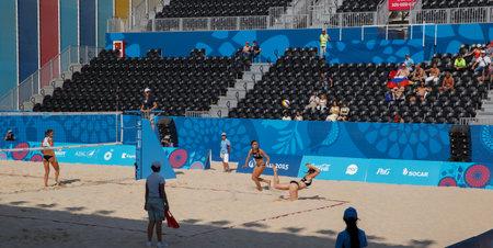 baku: BAKU,AZERBAIJAN-THE FIRST EUROPEAN GAMES-JUNE 20,2015-BEACH VOLLEYBALL-Team plays AUSTRIA and RUSSIA