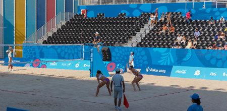 sund: BAKU,AZERBAIJAN-THE FIRST EUROPEAN GAMES-JUNE 20,2015-BEACH VOLLEYBALL-Team plays Switzerland and Spain