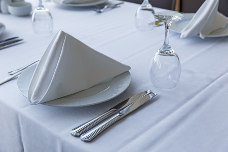 Table setting in a restaurant
