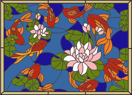 material de vidrio: Manchado de peces en el fondo de las flores y leaves.Vector