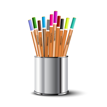 Set of colored pencils in a metal pencil case.Vector