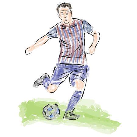 striker: Soccer ball striker painted in the style of skech.Vector Illustration
