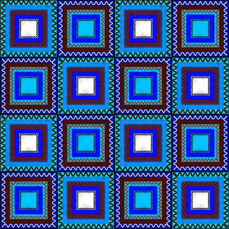 consisting: Seamless ethnic pattern consisting of color squares.Vector