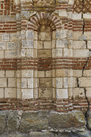 travel features: Ancient wall of the church in the town of Nesebar.Bulgaria