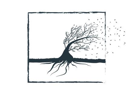 resistance: Bendable tree symbolizing the wind resistance Illustration
