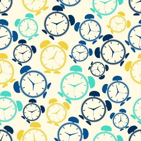 repeating: Seamless repeating pattern of colored abstract alarms.Vector