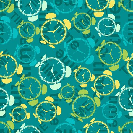 alarms: Seamless repeating pattern of colored abstract alarms.
