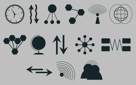 medium group of people: Set of icons on a theme communications.Vector Illustration