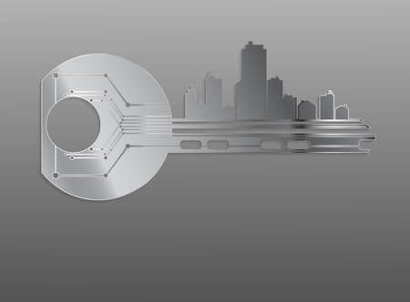 key words art: The key symbolizes the alarm system houses offices apartments
