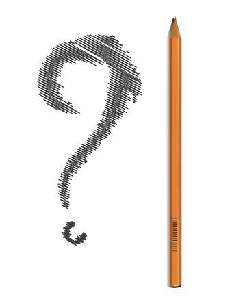 lapiz y papel: Lápiz simple con signo de interrogación pintado Foto de archivo