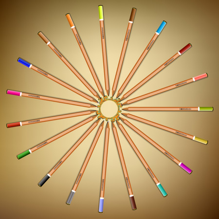 pencil symbol: Multi-colored pencils laid out in a circle on the paper Stock Photo