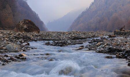 riverbed: The riverbed Vandam Chay.Village Vandam.Gabala.Azerbaijan Stock Photo