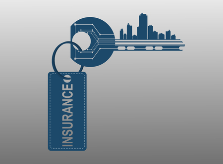 key words art: The key symbolizes the alarm system houses offices apartments with a sign insurance