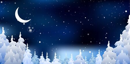 snowy: Christmas a background and Snowy forest Stock Photo