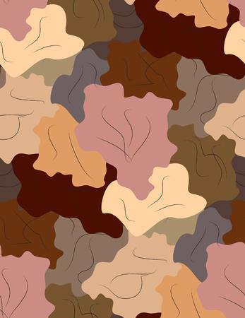 Seamless repeating pattern simulates abstract leaves.Vector Ilustração