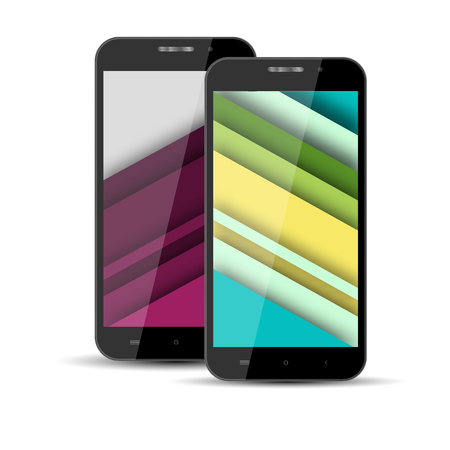 screen savers: Realistic models of mobile phone with the screen saver on the screen in the style of materal design.Vector