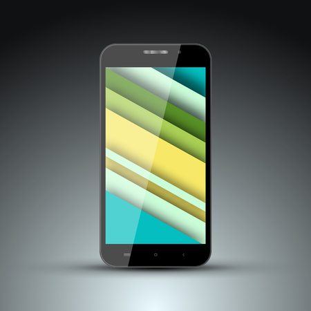screen savers: Realistic model of mobile phone with the screen saver on the screen in the style of materal design.Vector