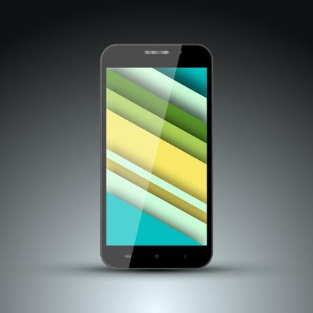 screen savers: Realistic model of mobile phone with the screen saver on the screen in the style of materal design.Vector
