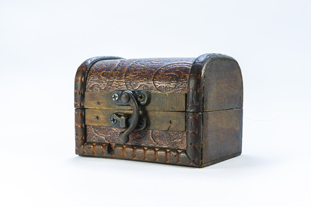 coppers: Old casket on a white background