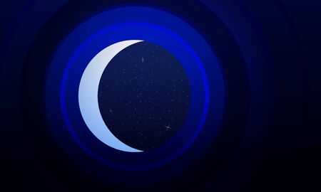 staring: Abstract background is mimicking the telescope staring at the starry sky and the crescent. Stock Photo