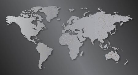 Abstract world map simulates the location of cities.Vector