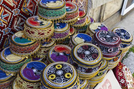azerbaijani: Traditional hats with hand-embroidered Azerbaijan