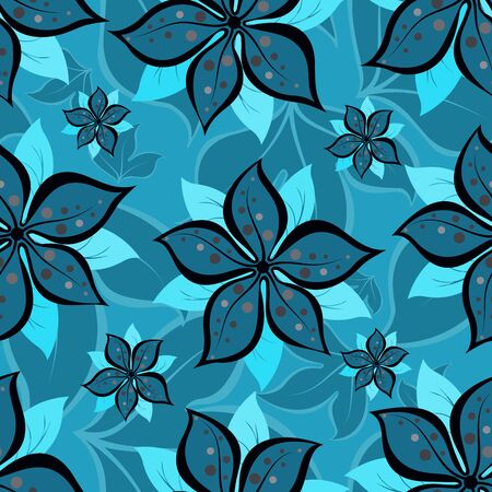 Abstract seamless repeating pattern of summer flowers.Vector  イラスト・ベクター素材