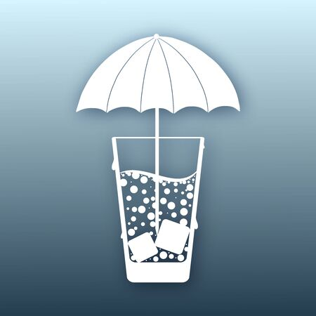 cocktail umbrella: Abstract icon with a cocktail umbrella