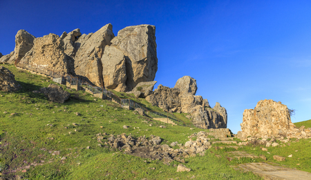steps and staircases: Stairs to the sacred mountain Beshbarmak(Five fingers).Azerbaijan