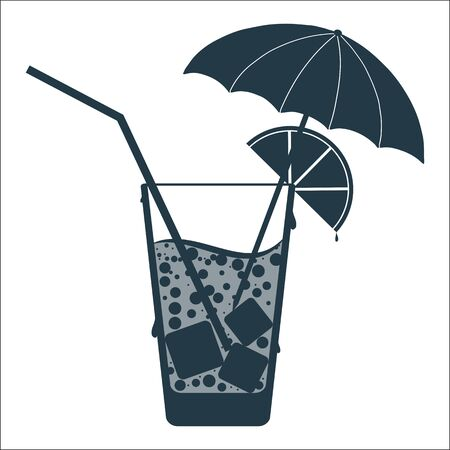 cocktail umbrella: Abstract icon with a cocktail umbrella and lemon.