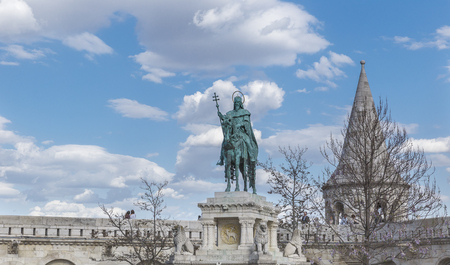 fishermen's: Monument to the first king of Hungary Istvan Great in Fishermens Bastion.Budapest Stock Photo