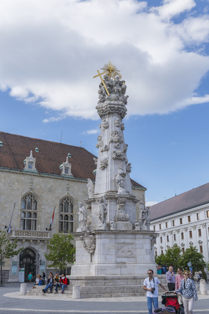 délivrance: HUNGARY,BUDAPEST - APRIL 15,2016:Plague Column, erected in honor of deliverance from plague in the years 1711-1714