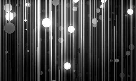 black circle: Abstract background is imitating hanging lamps on wires.3D illustration Stock Photo