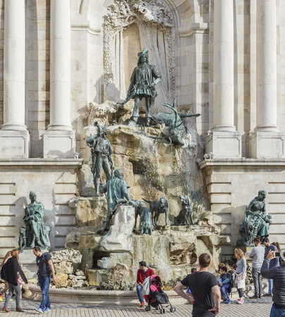 body built: HUNGARY,BUDAPEST - APRIL 15,2016:Fountain Hunt of King Matthias.Budapest